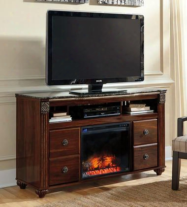 """Gabriela W3476801 59"""" Wide Lg Tv Stand And Wood Burning Flame Effect Fireplace Insert In Deep Dark Red"""