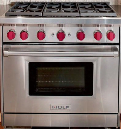 "Gr366 36"" Natural Gas Range With Dual-stacked Sealed Burners Large Convection Gas Oven With Infrared Broiler And Broiler Pan And Spark Ignition System:"