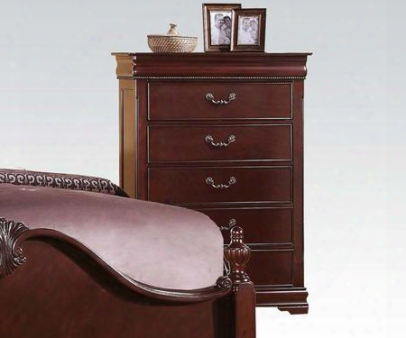 "Gwyneth Collection 21866 38"" Chest With 6 Drawers Felt Lined Top Drawer Kenlin Drawer Glide And Solid Pine Wood Construction In Cherry"