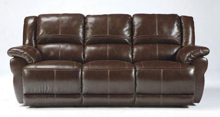 "Lenoris Collection U9890188 89"" Reclining Sofa With Plush Padded Arms Top Grain Leather Upholstery And Jumbo Stitching In"