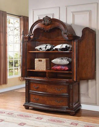 "Nathaneal 22317 52"" Tv Armoire With 2 Drawers 2 Doors 3 Shelves Poplar Wood And Birch Veneer Materials In Tobacco"