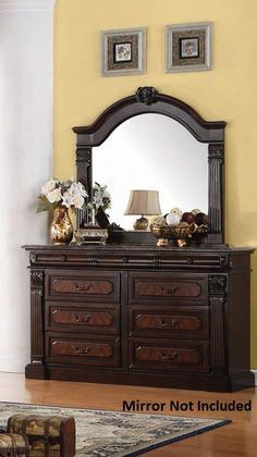 "Roman Empire 19349 64"" Dresser With 9 Drawers Felt Lined Top Drawers Poplar Wood Birch Veneer And Front Ash Ball Veneer Construction In Dark Cherry"