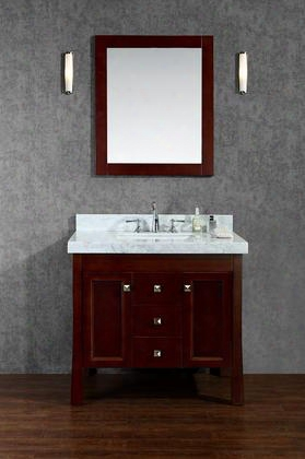 "Scgre36swa Greenbrier 36"" Single-sink Bathroom Vanity Set With Marble Top Tapered Legs Simple Pulls And Mirror In"