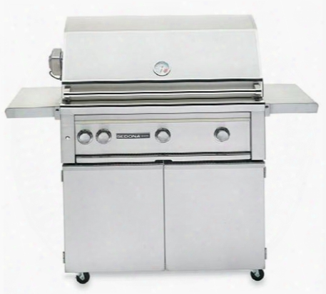 "Sedona 2-piece Stainless Steel Outdoor Grill Set With L600psrng 36"" Liquid Propane Grill With Rotisserie And L600cart 36"" Freestanding"