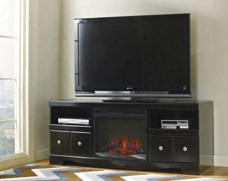 "Shay W27168set Entertainment Set With 63"" Lg T.v. Stand And Fireplace Insert In Black"