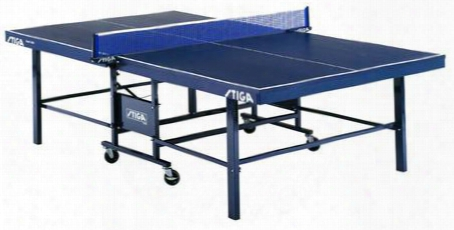 """T82201 Expert Roller Competition Table-tennis Table With Extra Heavy-duty Euro-design Chasis Stiga 72"""" Net And Post"""