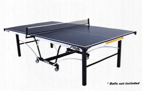 "T8521 Sts 185 Tournament Blue Top Foldable Table Tennis Table With 3d Corner Protector Stiga 72"" Pivoting Net And Post"
