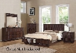 20514CK4PCSET Travell Cal King Size Bed + Dresser + Mirror + Nightstand in Walnut