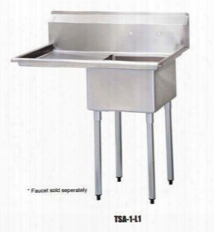 "Tsa-1-l1 Drain Board 39""w One Compartment Sink With Swirl Away Bowl Drainage And Adjustable Abs Bullet Feet In Stainless"