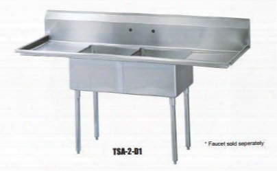 "Tsa-2-d1 Drain Board 72""w Two Compartment Sink With Swirl Away Bowl Drainage Two Drain Boards And Adjustable Abs Bullet Feet In Stainless"