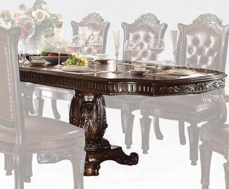 "Vendome Collection 62000 94"" - 136"" Dining Table With 2 Extension Leaves Double Pedestal Base Carved Details Wooden Round Top Aspen And Poplar Wood"