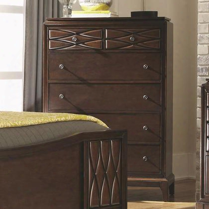 203305 Salisbury Chest With Five Drawers Full Extension Glides Raised Pattern Round Decorative Knobs Dovetail Construction And Tapered Wood Block Feet In