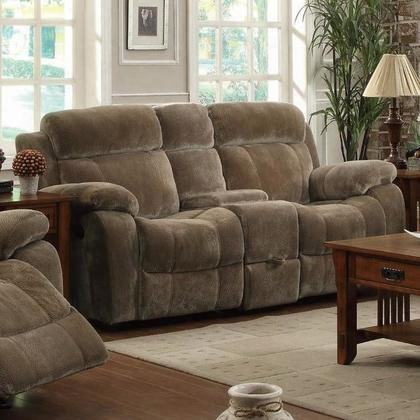 603032 Myleene Double Gliding Reclining Love Seat With Plush Bonded Seating Built-in Cup Holders And Storage Drawer Under Seating Area In Mocha