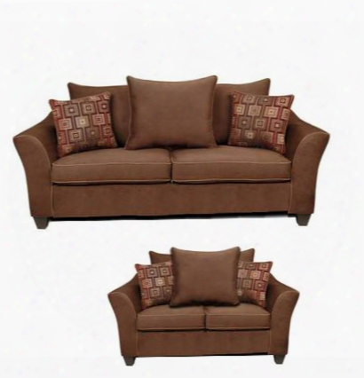6900sl Kendra Sofa + Loveseat With 1.5 Density Dacron Wrapped Cushions Sewn Pillow Cushions No Sag Steel Springs Polyester Blend Upholstery And Zippered