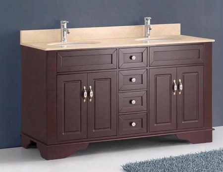 "A-5092b 59"" Classic Double Vanity In Amber Red With Crema Marfil Marble"