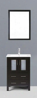 "Ab124u 24"" Single Vanity In Espresso With Ceramic"