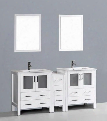 "Aw23u1s 72"" Double Vanity In White With Ceramic"