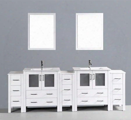 "Aw230u3s 96"" Double Vanity In White With Ceramic"