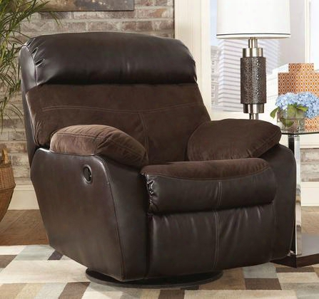 "Berneen 5450128 38"" Swivel Rocker Recliner With Faux Leather Outer Cover Fabric Seat And Back Cover And Headrest In Coffee"
