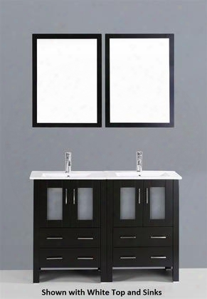 "Bosconi Ab224bgu 48"" Double Vanity With 4 Soft Closing Doors 1 Faucet Hole 2 Black Tempered Glass Sinks Drawers Beveled Edge Mirror Brushed Nickel"