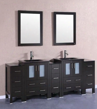 "Bosconi Ab224bgu3s 84"" Double Vanity With 4 Soft Closing Doors 1 Faucet Hole 2 Black Tempered Glass Sinks Drawers Beveled Edge Mirror Brushed Nickel"