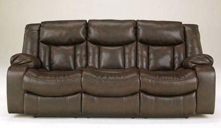 Carnell 1030087 Reclining Power Sofa With Heavy Weight Faux Leather Upholstery Shaped Chaise Seating And Durable Metal Drop-in Unitized Seat Boxes In