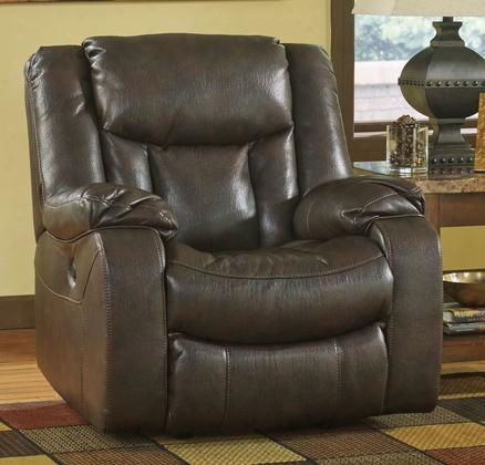 Carnell 1030098 Power Rocker Recliner With Plush Padded Arms Faux Leather Upholstery And Jumbo Thread Stitching Details In