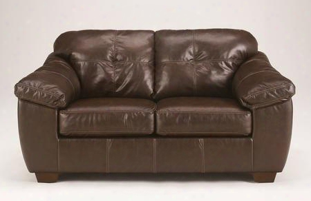"San Lucas 8370235 70"" Stationary Faux Leather Wood Frame Loveseat With Tufted Back Cushions Stitvhing Details And Plush Padded Arms  In"