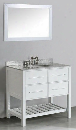 "Sb-250-3wh 36"" Single Vanity In White With Pure Carrara Marble"