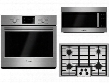 "3-Piece Stainless Steel Kitchen Package with HBL5351UC 30"" Electric Single Wall Oven NGM5055UC 30"" Gas Cooktop and HMV8052U 30"" Over-the-Range"