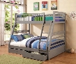 460182 Cooper Twin and Full Bunk Bed with Two Storage Drawers Attached Ladder and Safety Rails in