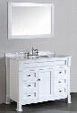 "SB-278WH 43"" Single Vanity in White with White Carrara Marble"