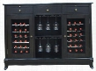 VT-CAVA2E Portofino Series Cava 36-Bottle Wine Credenza with Dual Zone Temperature Control 3 Upper Storage Drawers Hanging Stemware Racks and Interior