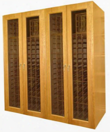 Vino-1400g Reserve Series 4 Glass Door Oak Wine Cabinet With 880-bottle Capacity Two 1500btu Wine-mate Cooling Systems And Digital Temperature