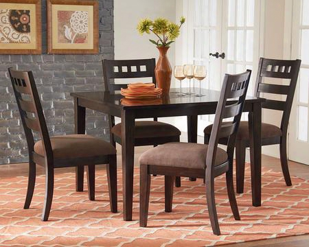 13166 Sparkle Dining Room Set With 1 Table And 4 Chairs In Brown Cherry