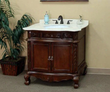 "202016a-s-cr 34.6"" Single Sink Vanity - Wood - Walnut - Cream"