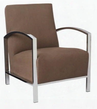 61202-ab Theresa Louunge Chair In Auburn Brown Fabric With Polished Stainless Steel