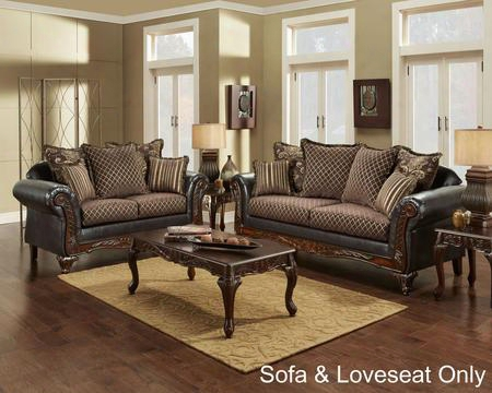 """726350sl Amelia Traditional Sofa With Loveseat Toss Pillows Medium Cushion Firmness 22"""" Seat Height Wood Frame And Polyester Upholstery In"""