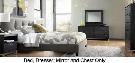 B7027678313646 Masterton Collection King Size Upholstered Bed With Dresser Mirror Chesst 3d Press Technology Brushed Nickle Color Metal Bases And