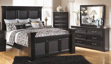 Cavallino King Bedroom Set With Mansion Bed Dresser Mirror And Chest In Deep