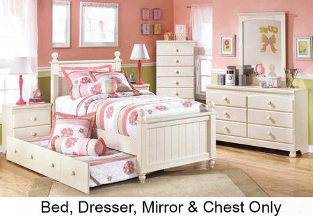 Cottage Retreat Full Bedroom Set With Poster Trundle Bed Dresser Mirror And Chest In