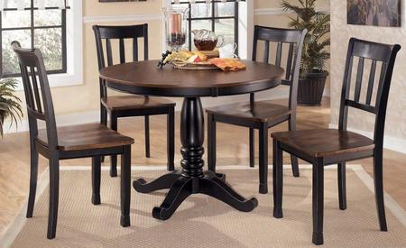 D5801502 Owingsville Round Dining Room Table With Four Side Chairs Hardwood Solids Glued And Screwed Corner Block Construction In Two