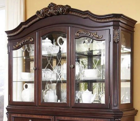 D67881 Wendlowe Hutch Cabinet With 3 Way Led Lighting Glass Shelves Plate Rails Ornate Shapes Poplar And Rubberwood Solids In Dark
