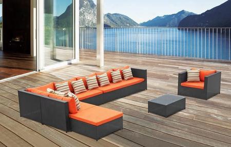 Fmi10026-orange Garden 7-piece Outdoor Rattan Espresso With Orange Cushion
