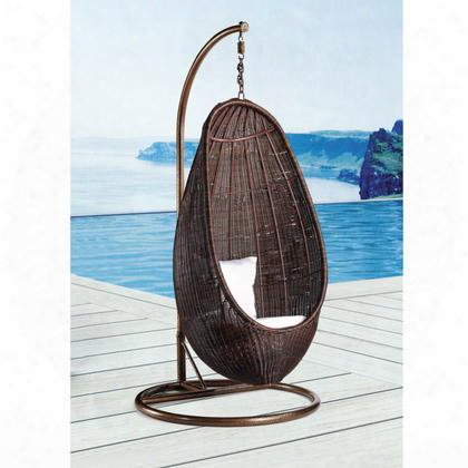 Fmi10032-chocolate Rattan Hanging Chair With Stand Chocolate