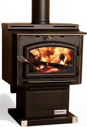 "Highlander Tr003 26"" Wood Stove With 68 000 Btus Blower Ash Drawer Heats Up To 1 400 Sq. Ft. Cast Iron Feed Door Full Wrap Around Heat Shield Epa"