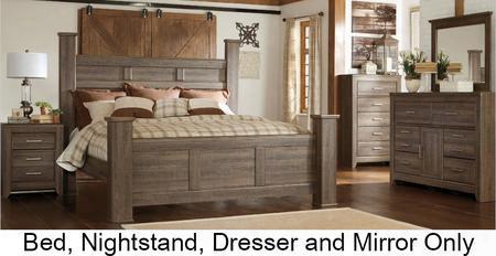 Juararo King Bedroom Set With Poster Bed Dresser Mirror And Nightstand In Dark