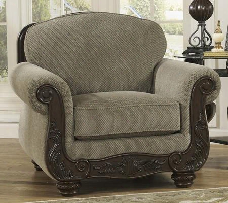 "Martinsburg Collection 5730020 43"" Chair With Fabric Upholstery Carved Detailing Piped Stitching And Traditional Style In"