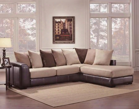 Newport 730348-61713-42518 2 Pc Sectional With Toss Pillows Left Arm Facing Sofa And Right Arm Facing Chaise In Laredo Mocha And Searider