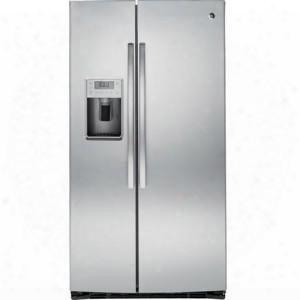 "Pse25kshss 36"" Side-by-side Refrigerator With 25.4 Cu. Ft. Capacity Led Lighting Adjustable Slideout Spillproof Glass Shelves Arctica Icemaker Multilevel"